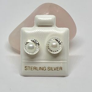 Sterling Silver 925 Pearl Studs Earrings